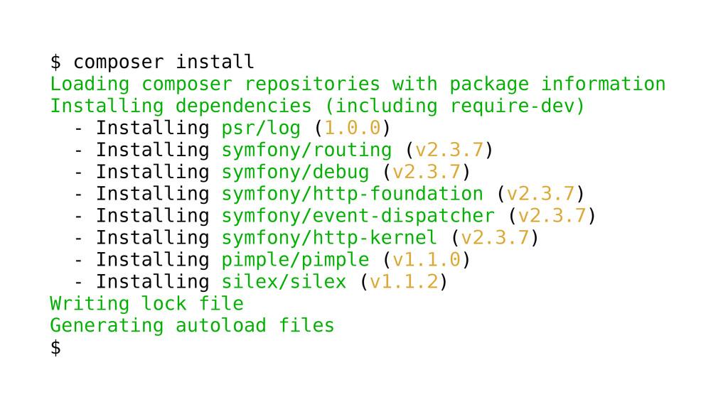 $ composer install Loading composer repositorie...