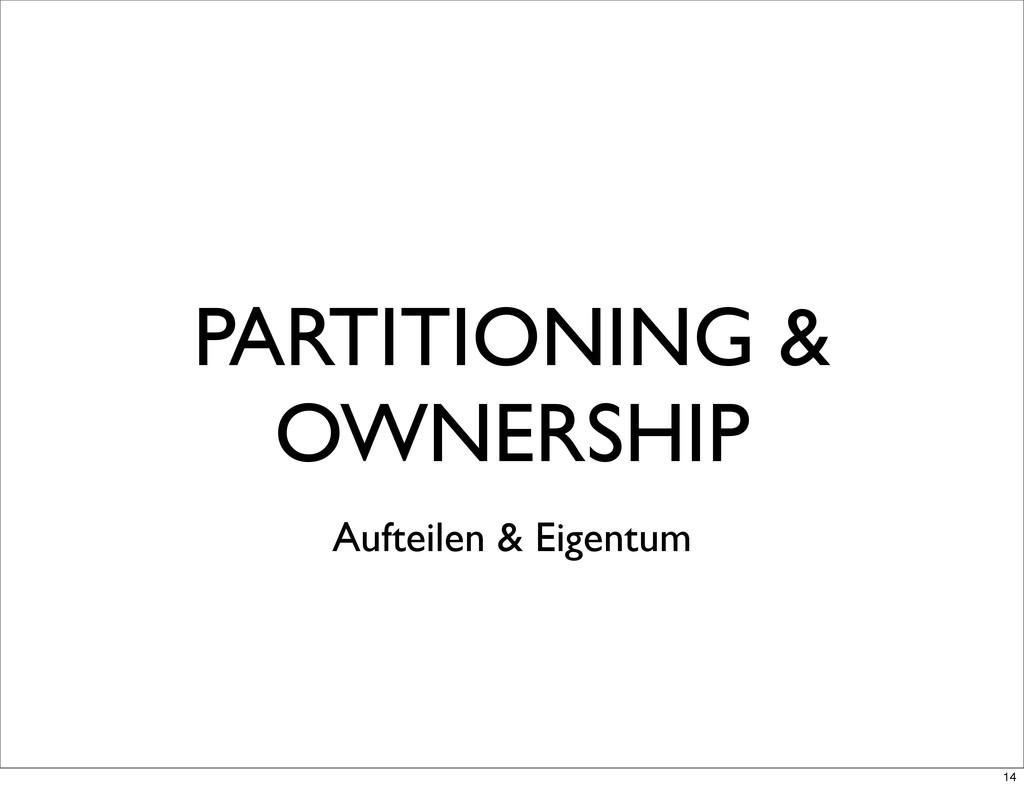 PARTITIONING & OWNERSHIP Aufteilen & Eigentum 14