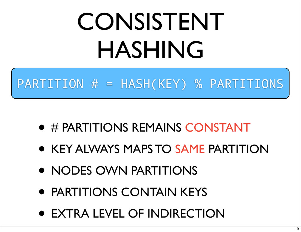 CONSISTENT HASHING PARTITION # = HASH(KEY) % PA...