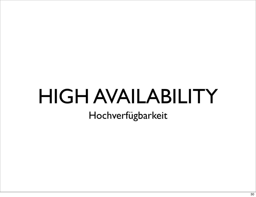 HIGH AVAILABILITY Hochverfügbarkeit 30