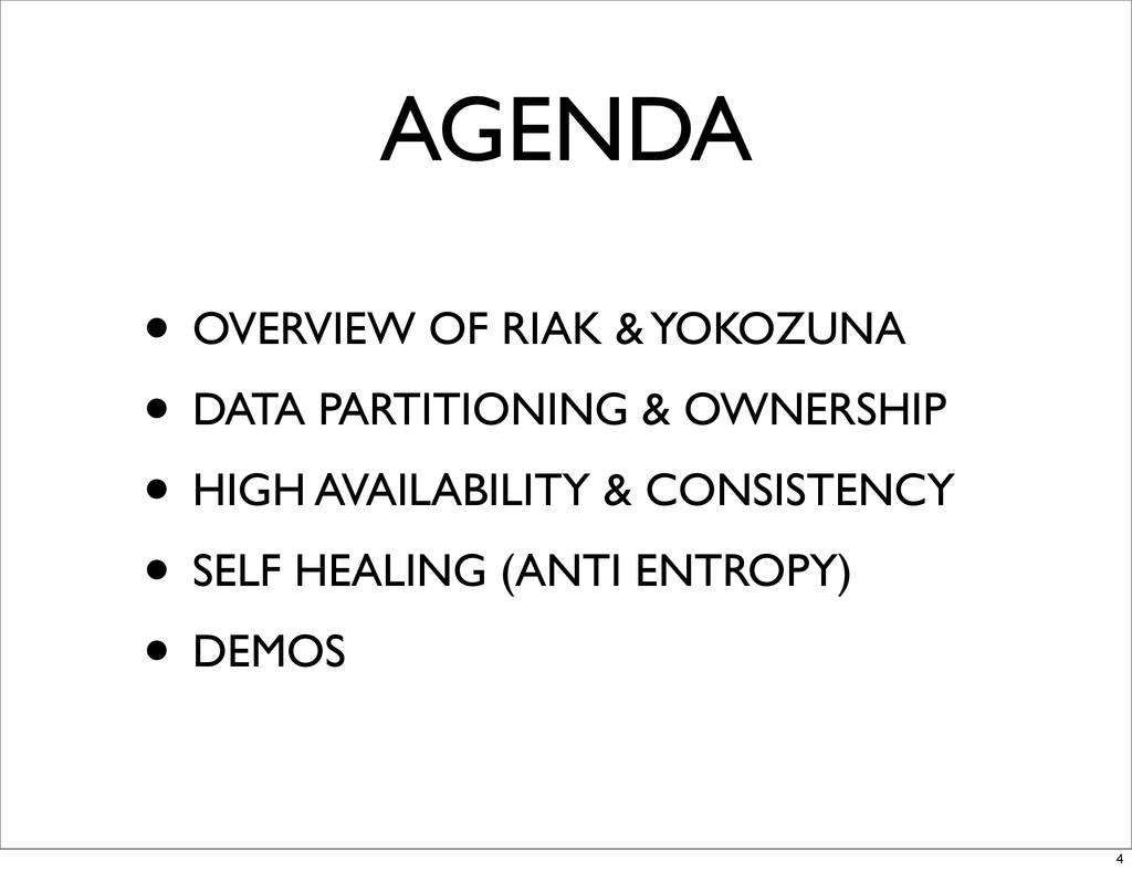 AGENDA • OVERVIEW OF RIAK & YOKOZUNA • DATA PAR...
