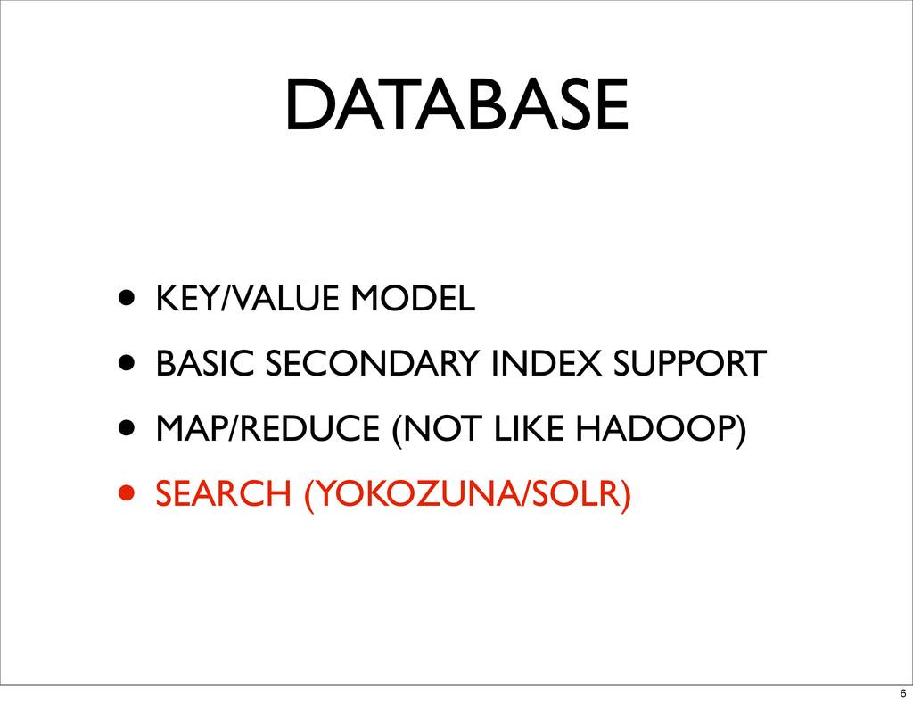 DATABASE • KEY/VALUE MODEL • BASIC SECONDARY IN...