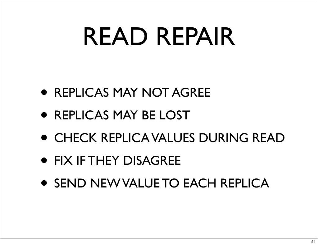 READ REPAIR • REPLICAS MAY NOT AGREE • REPLICAS...