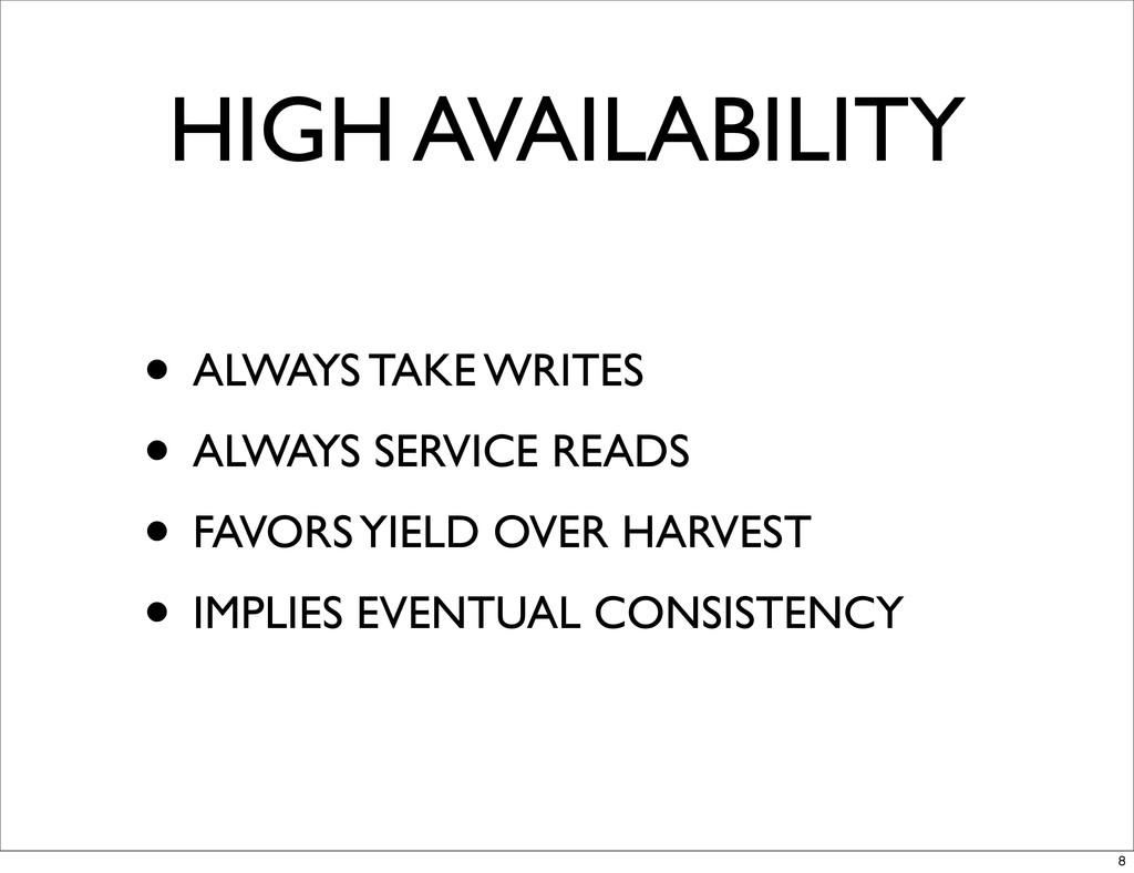 HIGH AVAILABILITY • ALWAYS TAKE WRITES • ALWAYS...
