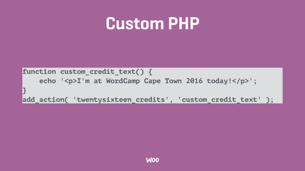 Custom PHP function custom_credit_text() { echo...