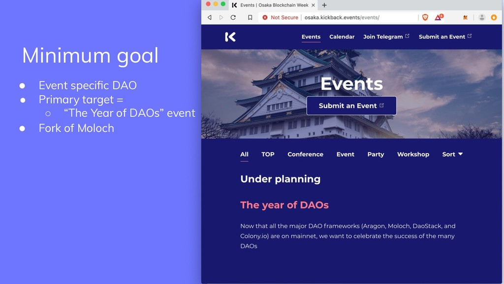 "● Event specific DAO ● Primary target = ○ ""The Y..."