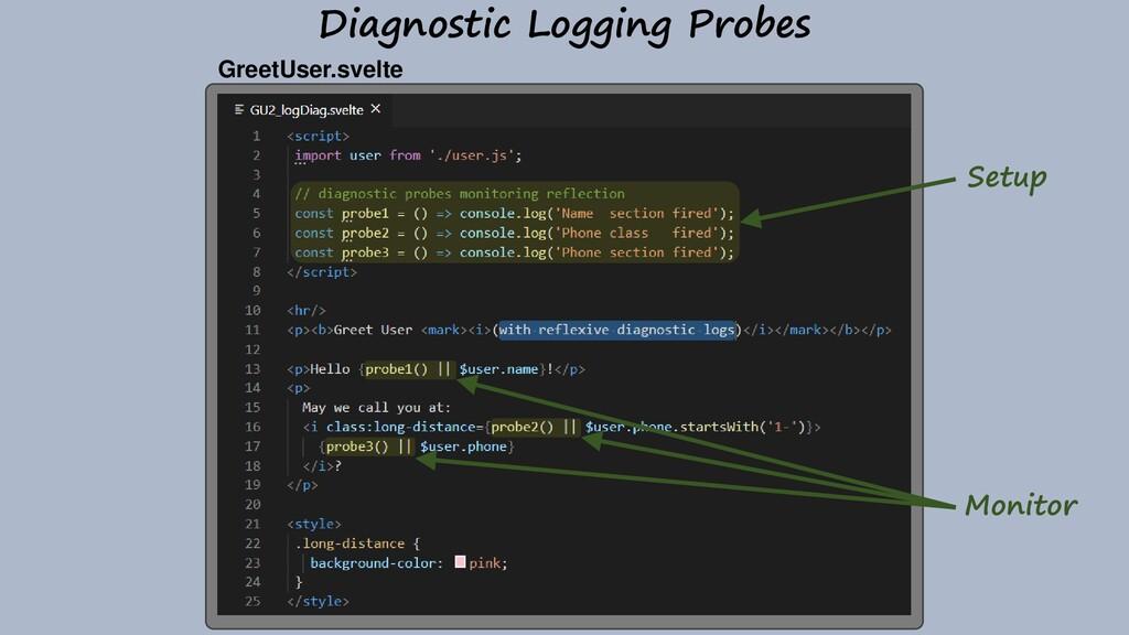Diagnostic Logging Probes GreetUser.svelte Moni...