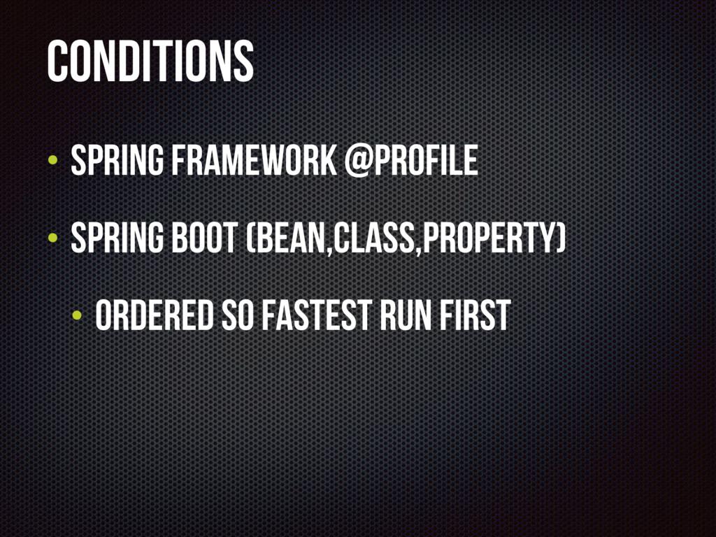 Conditions • Spring Framework @Profile • Spring...