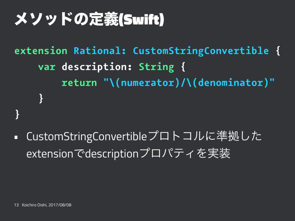 ϝιουͷఆٛ(Swift) extension Rational: CustomString...