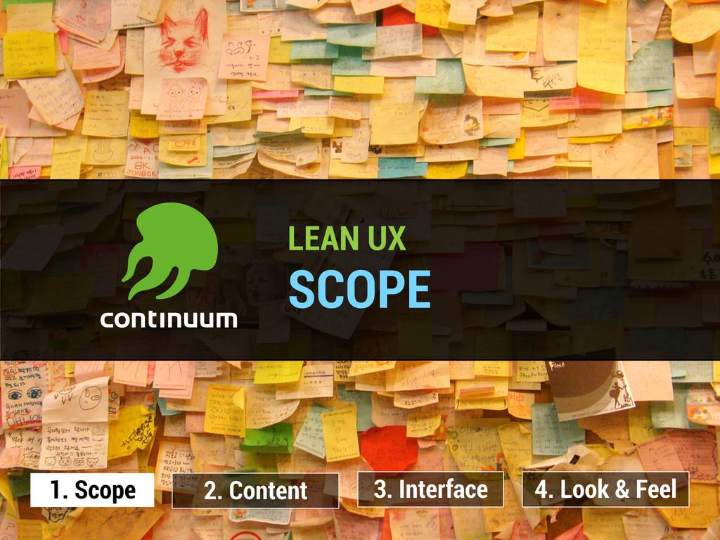 LEAN UX SCOPE 1. Scope 2. Content 3. Interface ...