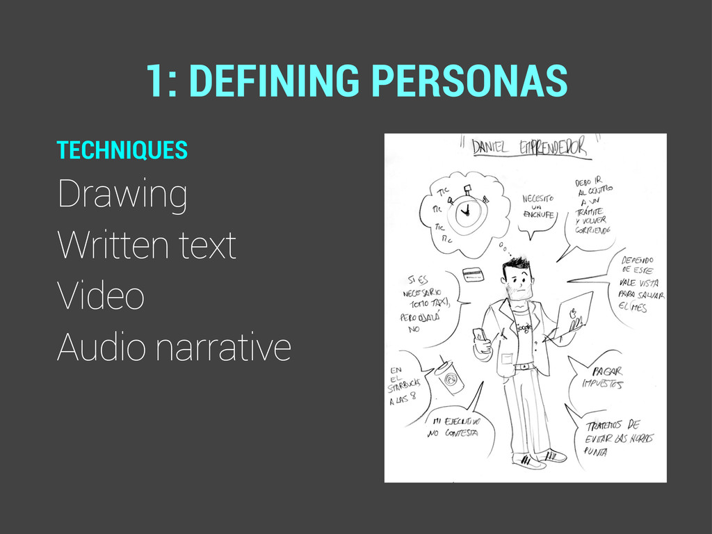 TECHNIQUES Drawing Written text Video Audio nar...