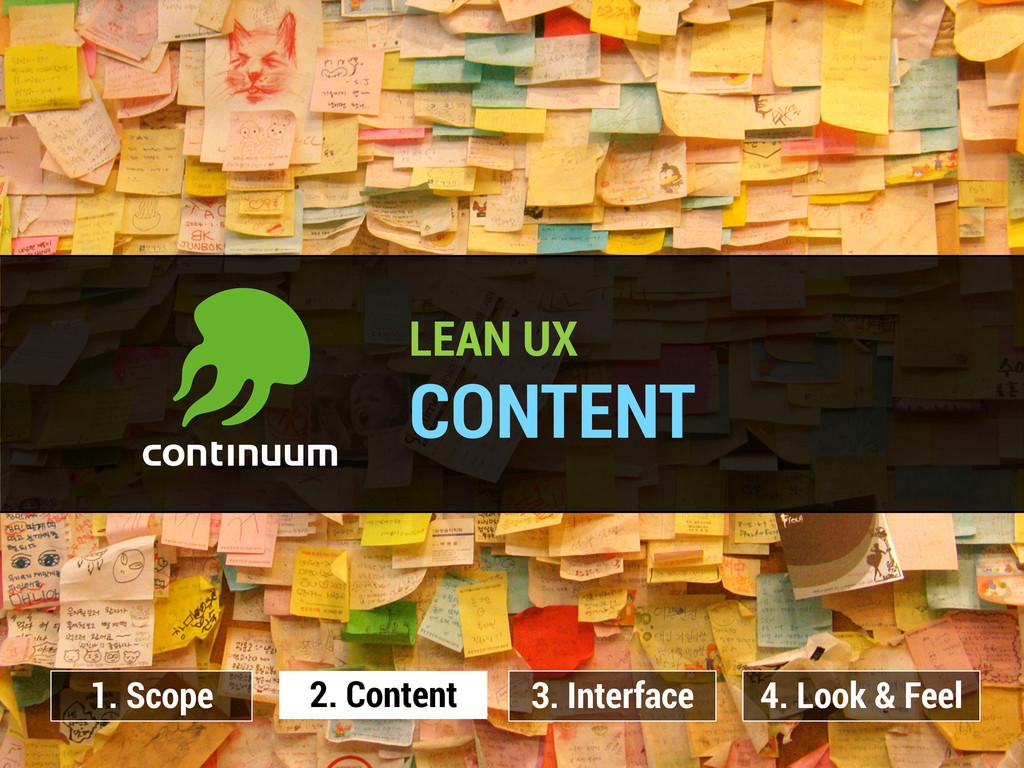 LEAN UX CONTENT 2. Content 1. Scope 3. Interfac...