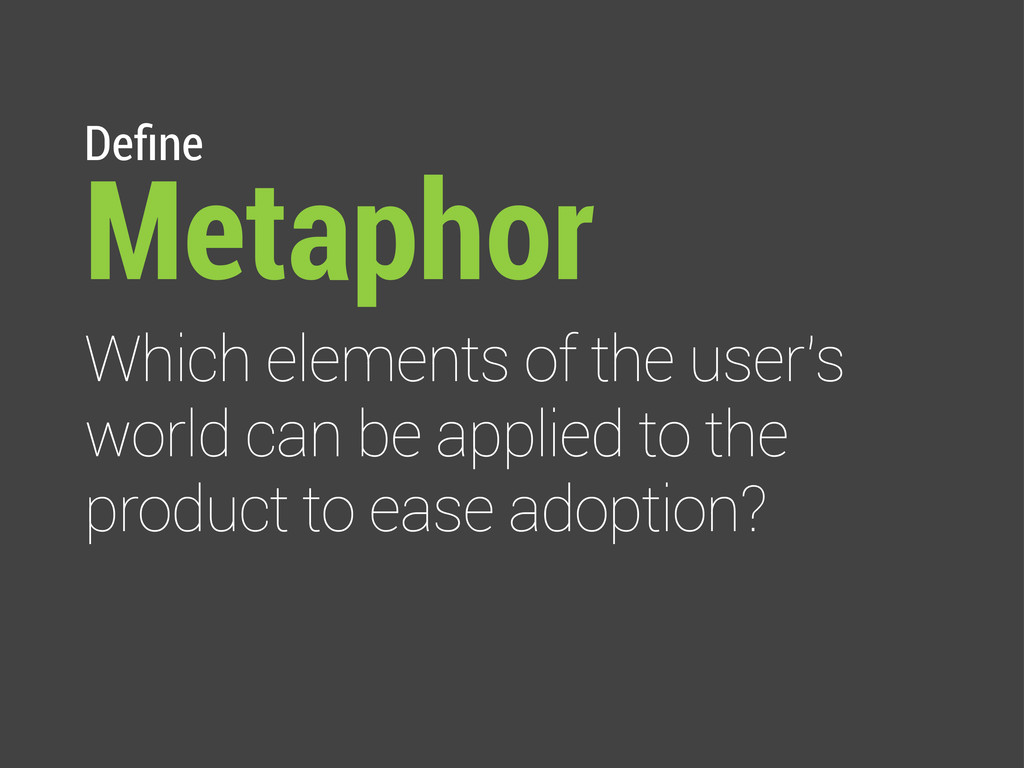 Define Metaphor Which elements of the user's wor...
