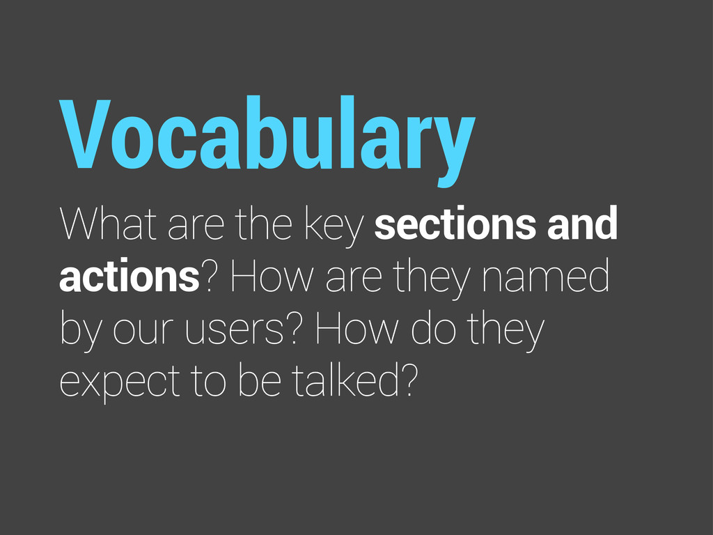 Vocabulary What are the key sections and action...
