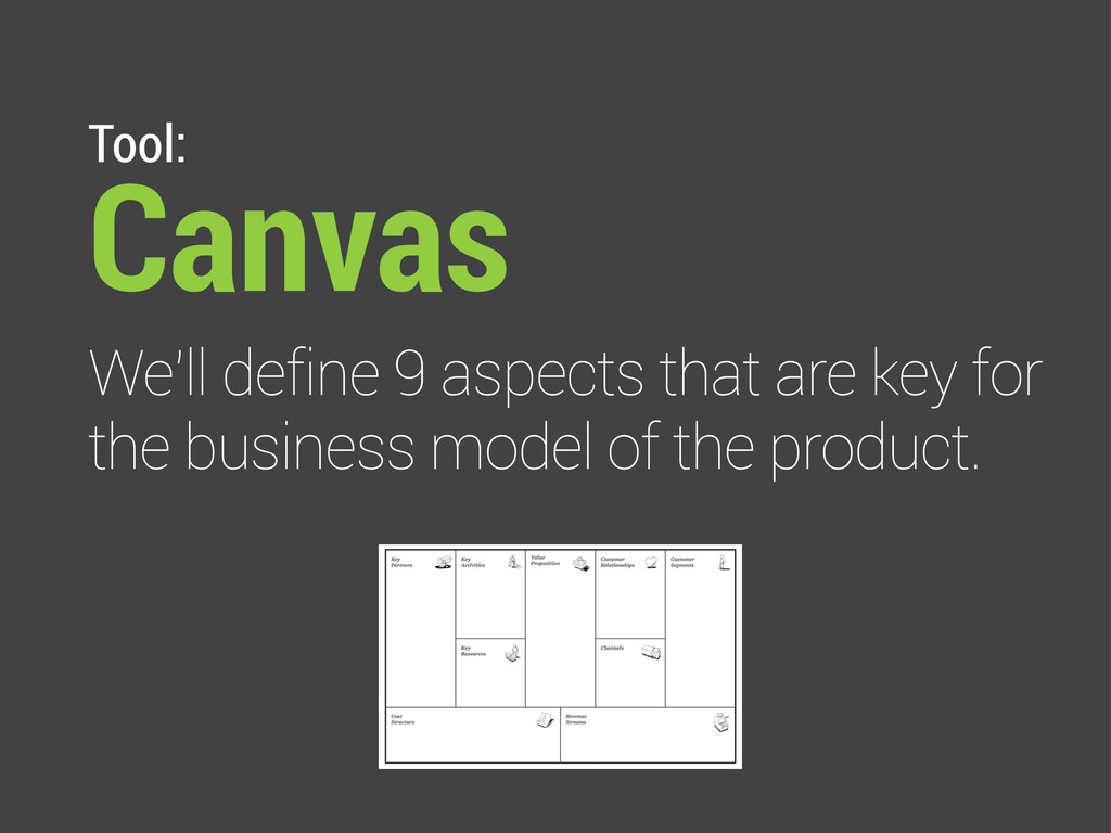 Tool: Canvas We'll define 9 aspects that are ke...