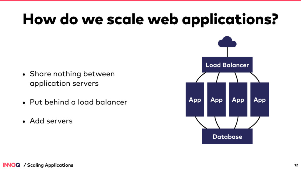 How do we scale web applications? • Share nothi...