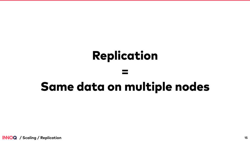 Replication = Same data on multiple nodes 15 / ...