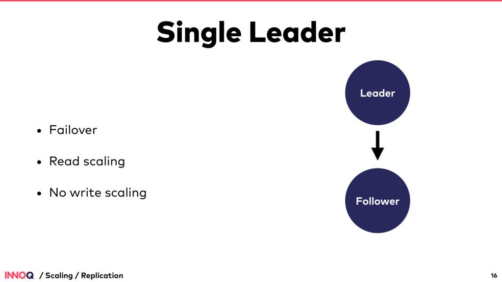 Single Leader • Failover • Read scaling • No wr...