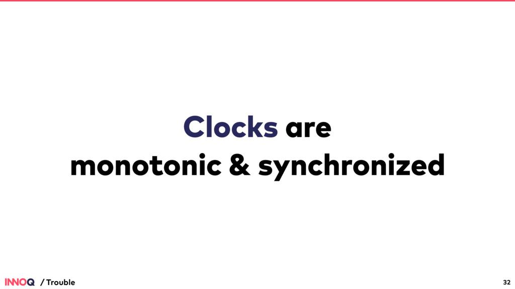 Clocks are monotonic & synchronized 32 / Trouble
