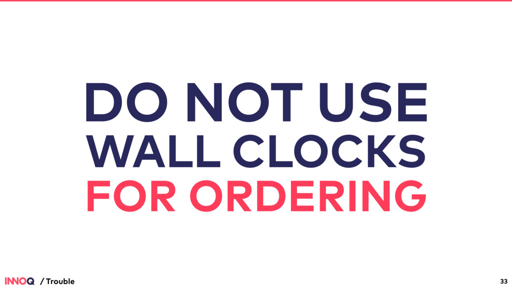 33 / Trouble DO NOT USE WALL CLOCKS FOR ORDERING