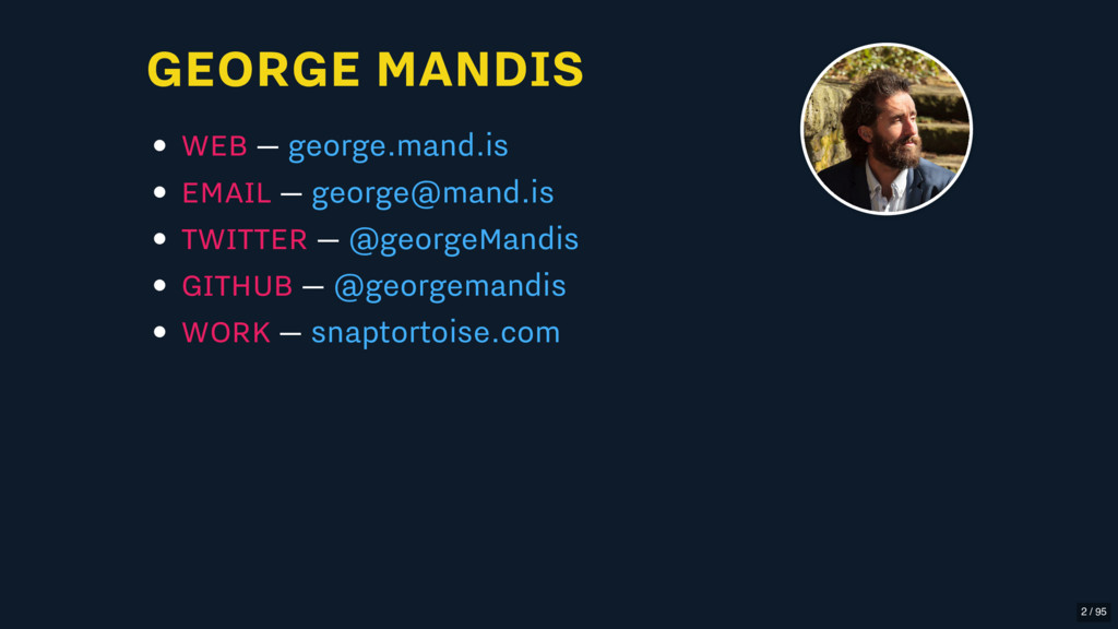 GEORGE MANDIS WEB — EMAIL — TWITTER — GITHUB — ...