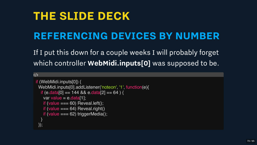 THE SLIDE DECK REFERENCING DEVICES BY NUMBER If...