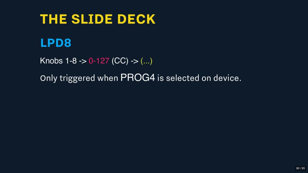 THE SLIDE DECK LPD8 Knobs 1-8 -> 0-127 (CC) -> ...