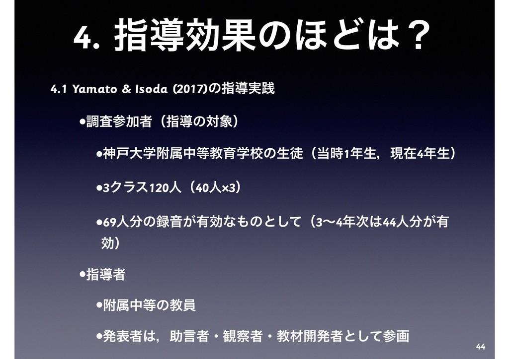 4. ࢦಋޮՌͷ΄Ͳʁ 4.1 Yamato & Isoda (2017)ͷࢦಋ࣮ફ •ௐࠪ...