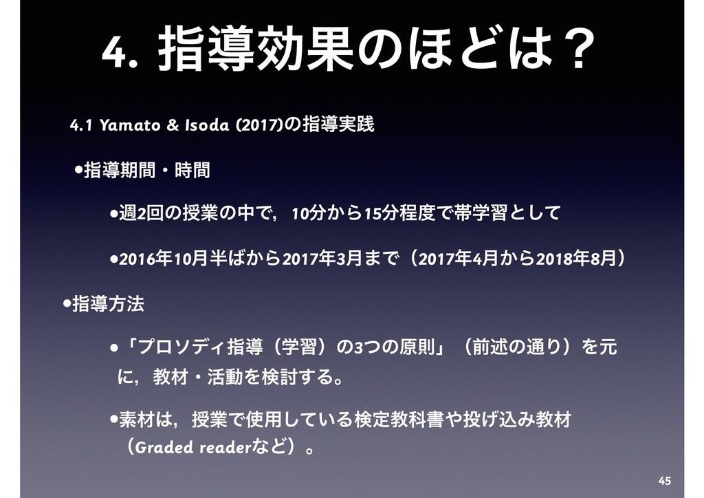 4. ࢦಋޮՌͷ΄Ͳʁ 4.1 Yamato & Isoda (2017)ͷࢦಋ࣮ફ •ࢦಋ...