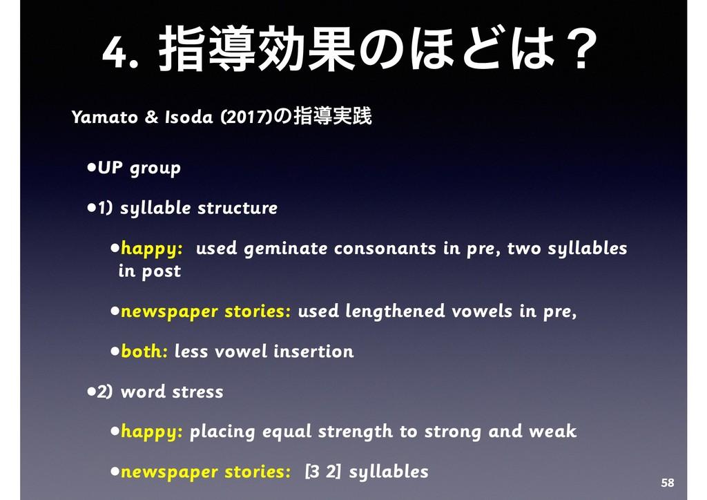 4. ࢦಋޮՌͷ΄Ͳʁ Yamato & Isoda (2017)ͷࢦಋ࣮ફ •UP gro...