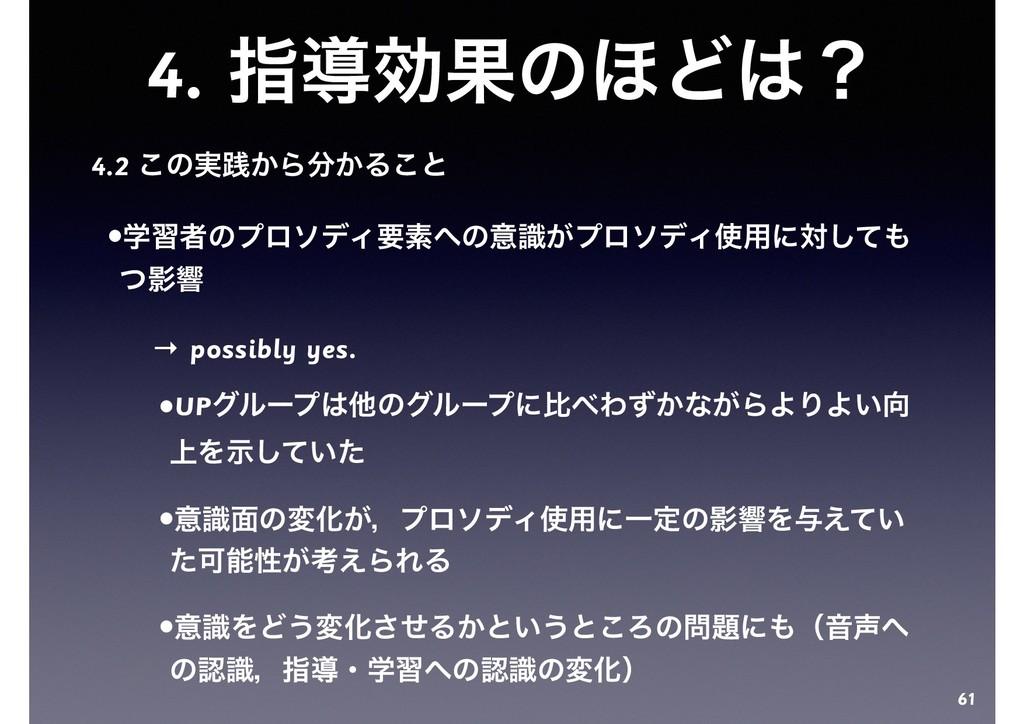 4. ࢦಋޮՌͷ΄Ͳʁ 4.2 ͜ͷ࣮ફ͔Β͔Δ͜ͱ •ֶशऀͷϓϩισΟཁૉͷҙ͕ࣝϓ...