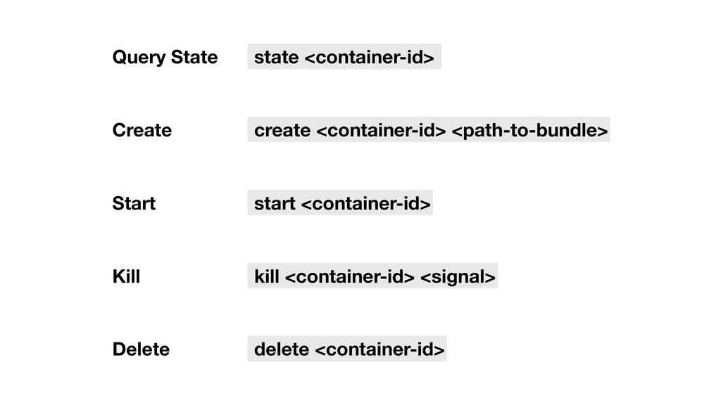 Query State state <container-id> Create create ...