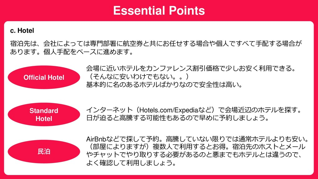 Essential Points c. Hotel 宿泊先は、会社によっては専門部署に航空券と...