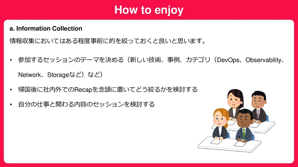 How to enjoy a. Information Collection 情報収集において...