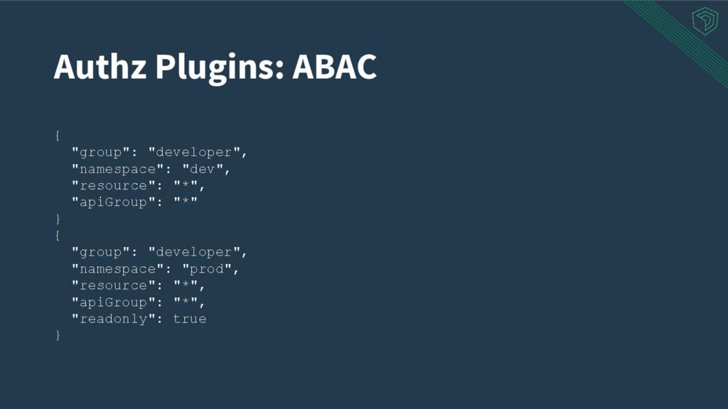 "Authz Plugins: ABAC { ""group"": ""developer"", ""na..."