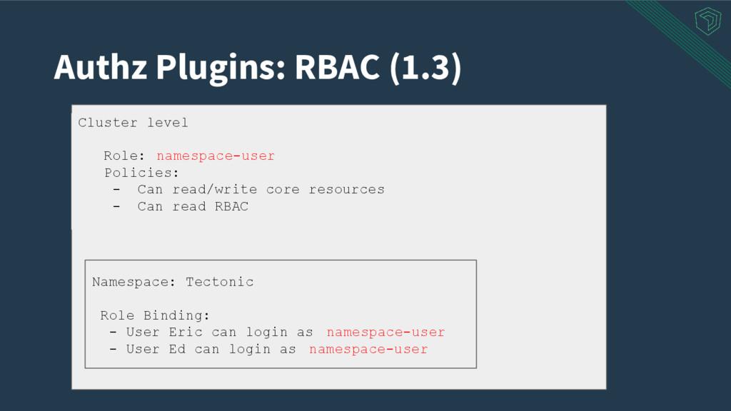 Authz Plugins: RBAC (1.3) Cluster level Role: n...