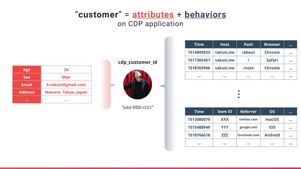 """customer"" = attributes + behaviors on CDP appl..."