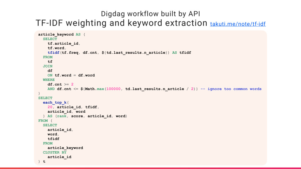 Digdag workflow built by API TF-IDF weighting a...