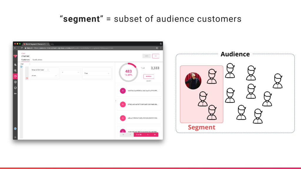 """segment"" = subset of audience customers Audien..."