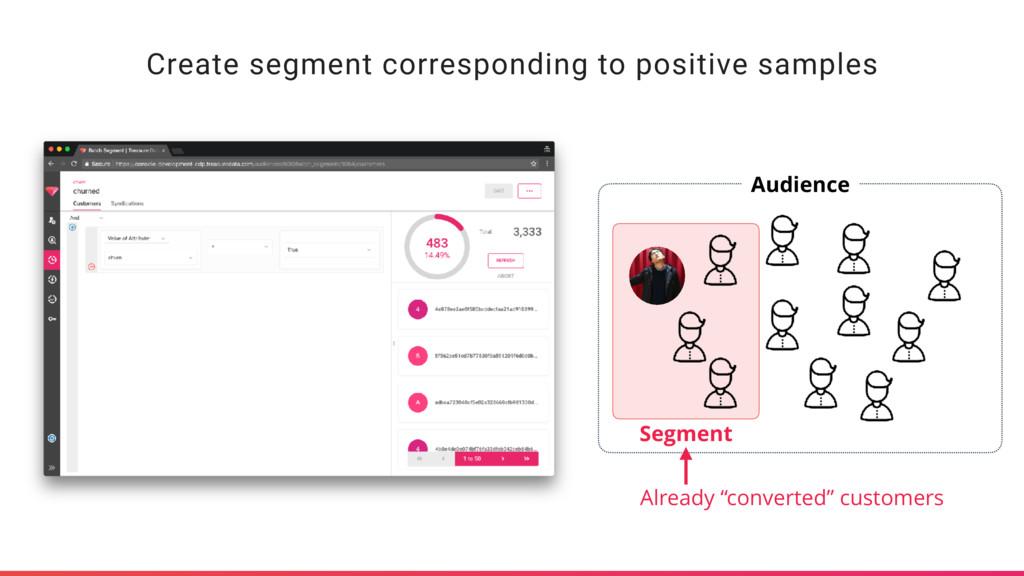Create segment corresponding to positive sample...