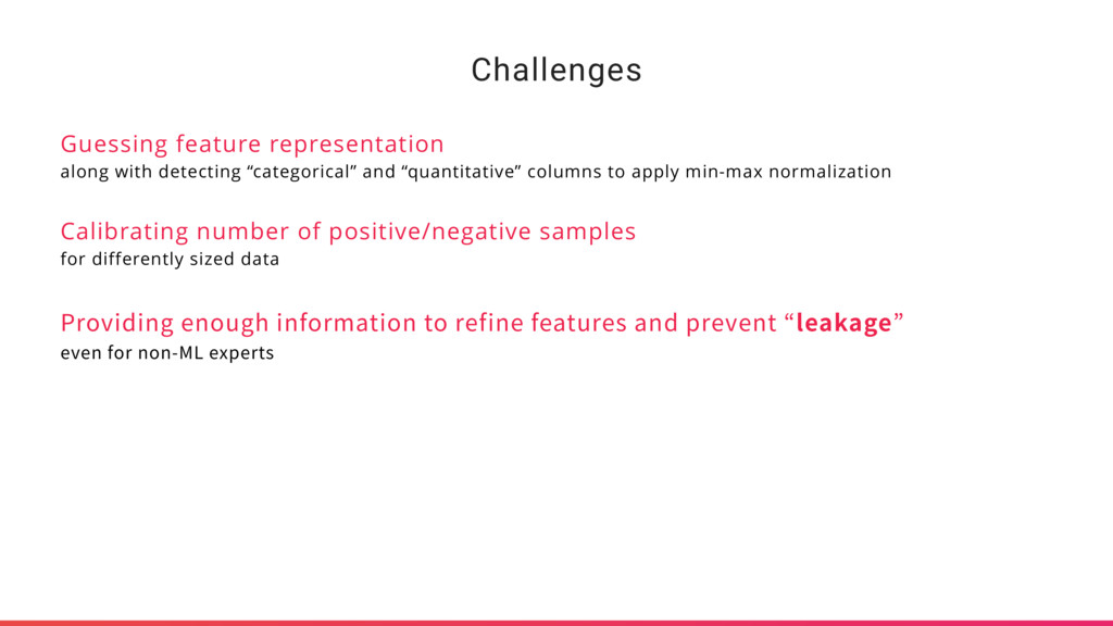 Challenges Guessing feature representation alon...