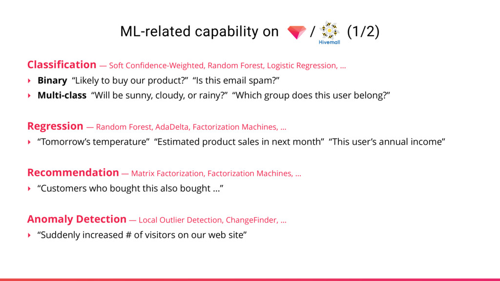 ML-related capability on / (1/2) Classification ...