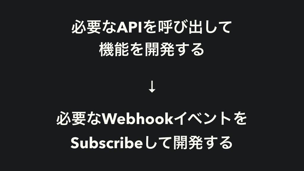ඞཁͳAPIΛݺͼग़ͯ͠ ػΛ։ൃ͢Δ ↓ ඞཁͳWebhookΠϕϯτΛ Subscrib...