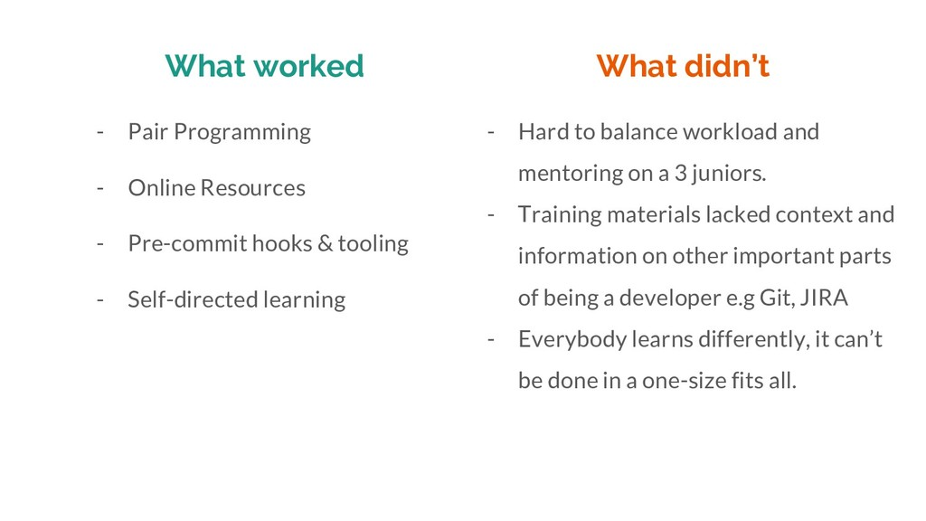 What worked - Pair Programming - Online Resourc...