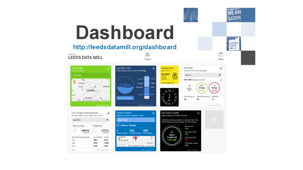 Dashboard http://leedsdatamill.org/dashboard