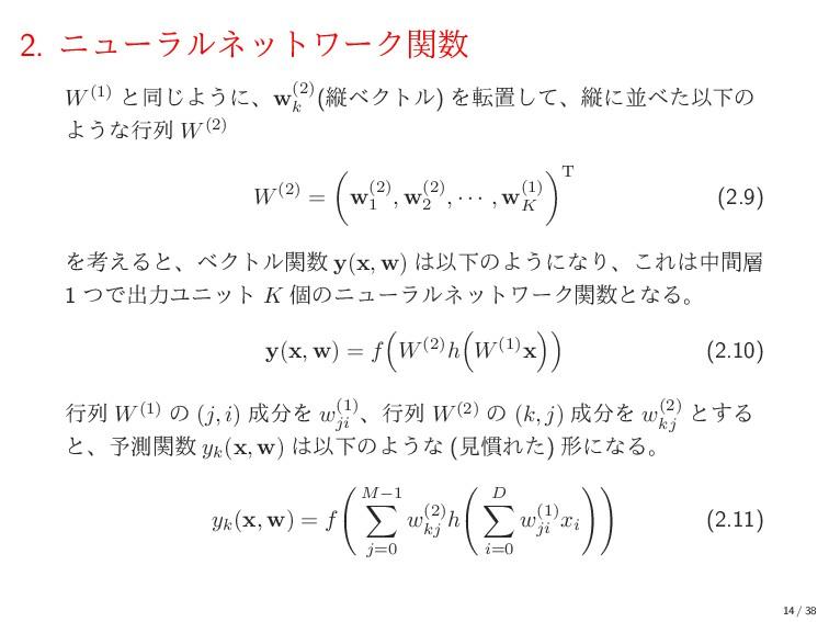 2. χϡʔϥϧωοτϫʔΫؔ W(1) ͱಉ͡Α͏ʹɺw(2) k (ॎϕΫτϧ) Λసஔ...