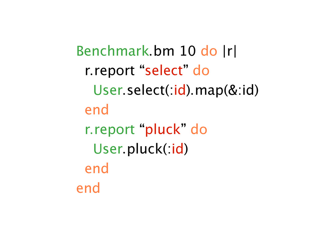 "Benchmark.bm 10 do |r| r.report ""select"" do Use..."