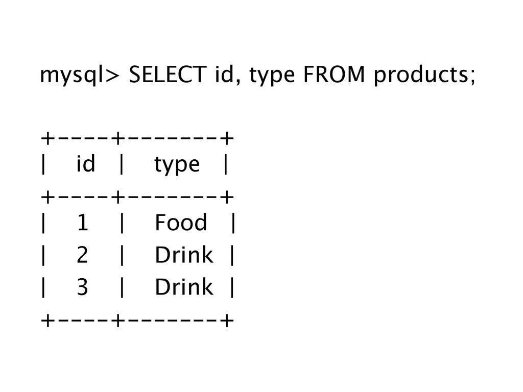 mysql> SELECT id, type FROM products; ! +----+-...