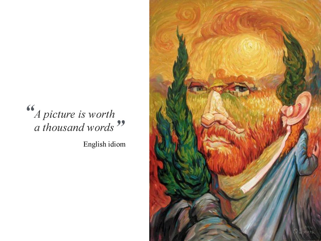 """A picture is worth a thousand words """" """" English..."""