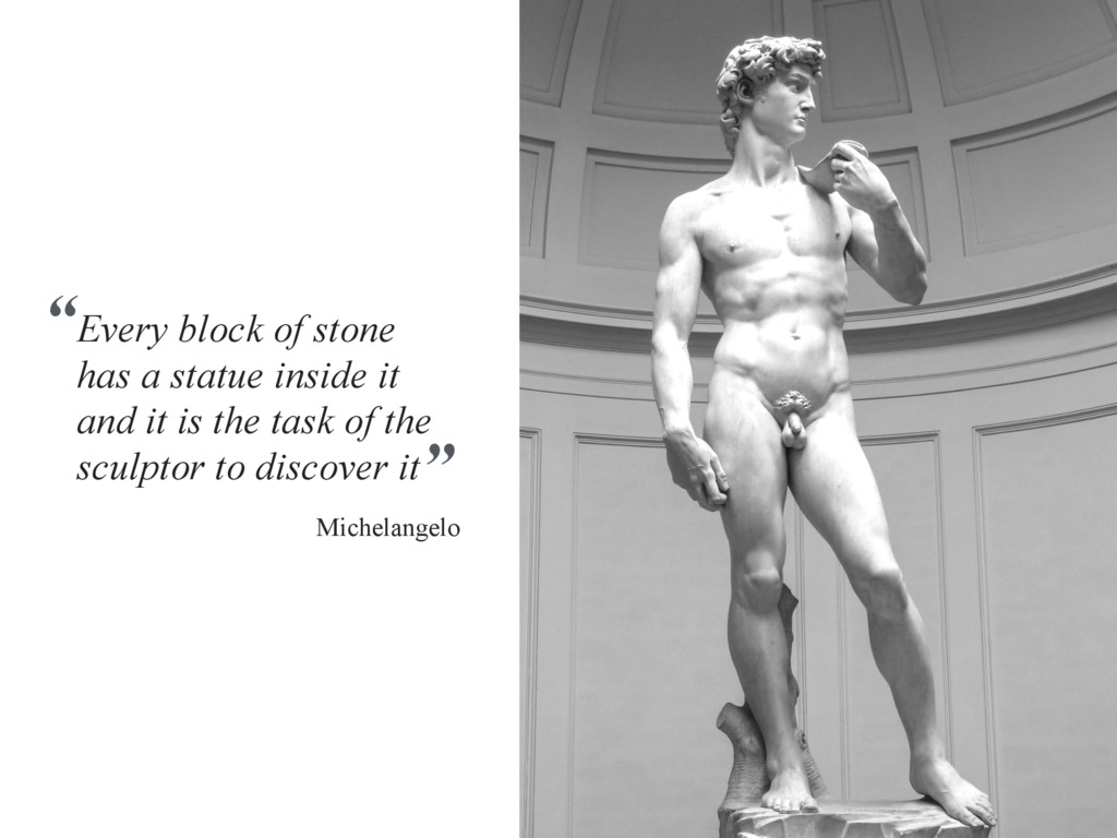 Every block of stone has a statue inside it and...